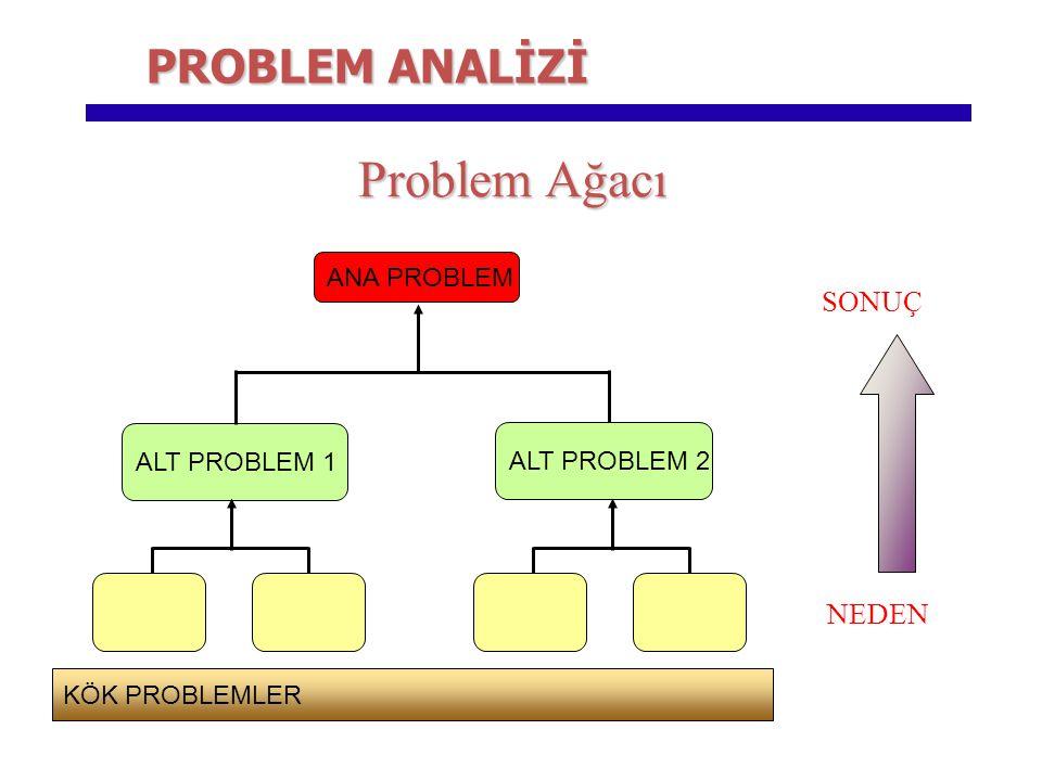 Problem Ağacı PROBLEM ANALİZİ SONUÇ NEDEN ANA PROBLEM ALT PROBLEM 1
