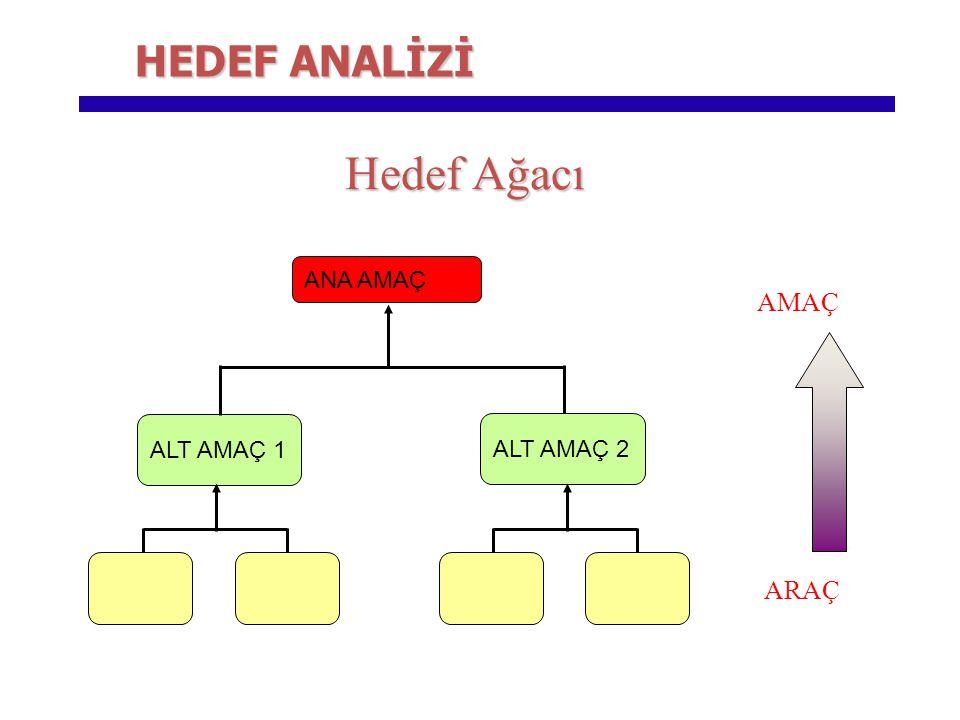 Hedef Ağacı HEDEF ANALİZİ AMAÇ ARAÇ ANA AMAÇ ALT AMAÇ 1 ALT AMAÇ 2