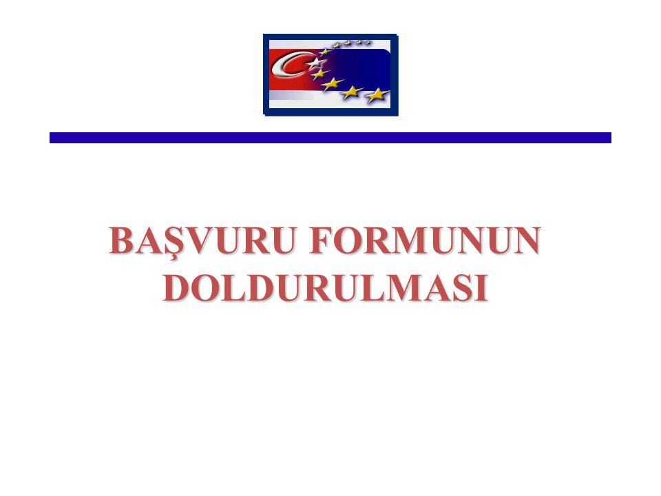 BAŞVURU FORMUNUN DOLDURULMASI