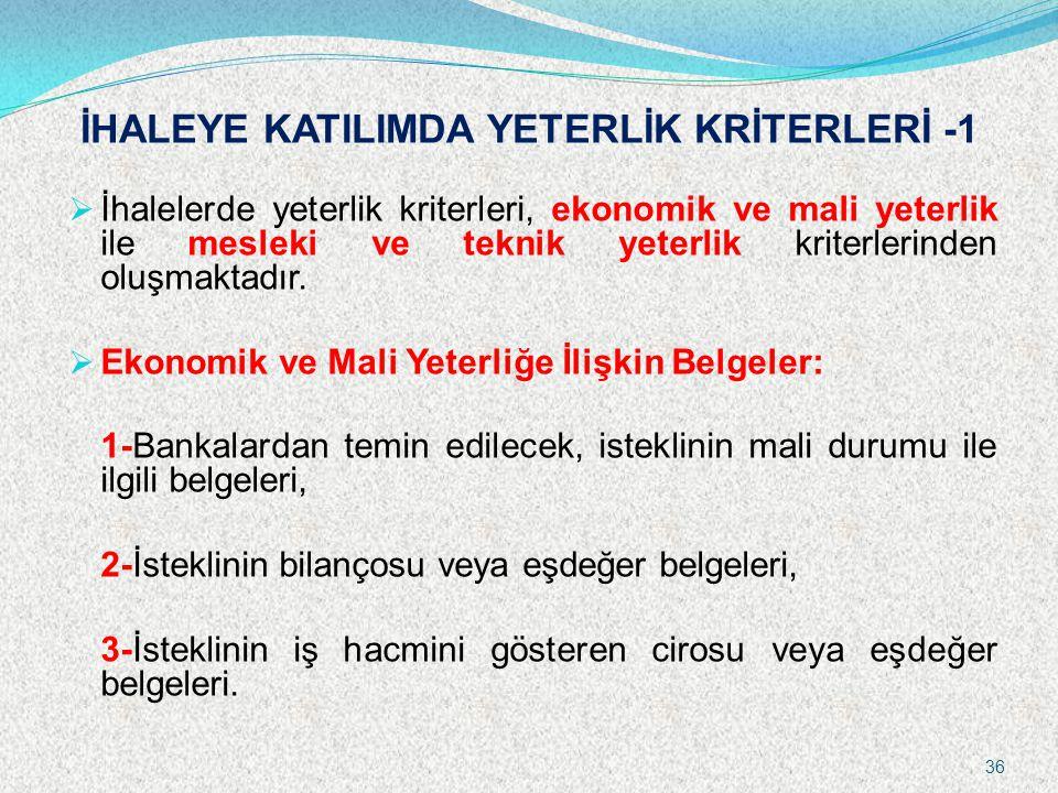 İHALEYE KATILIMDA YETERLİK KRİTERLERİ -1
