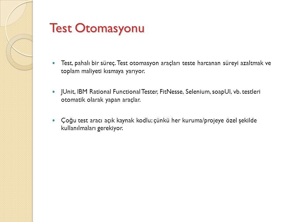 Test Otomasyonu Test, pahalı bir süreç. Test otomasyon araçları teste harcanan süreyi azaltmak ve toplam maliyeti kısmaya yarıyor.