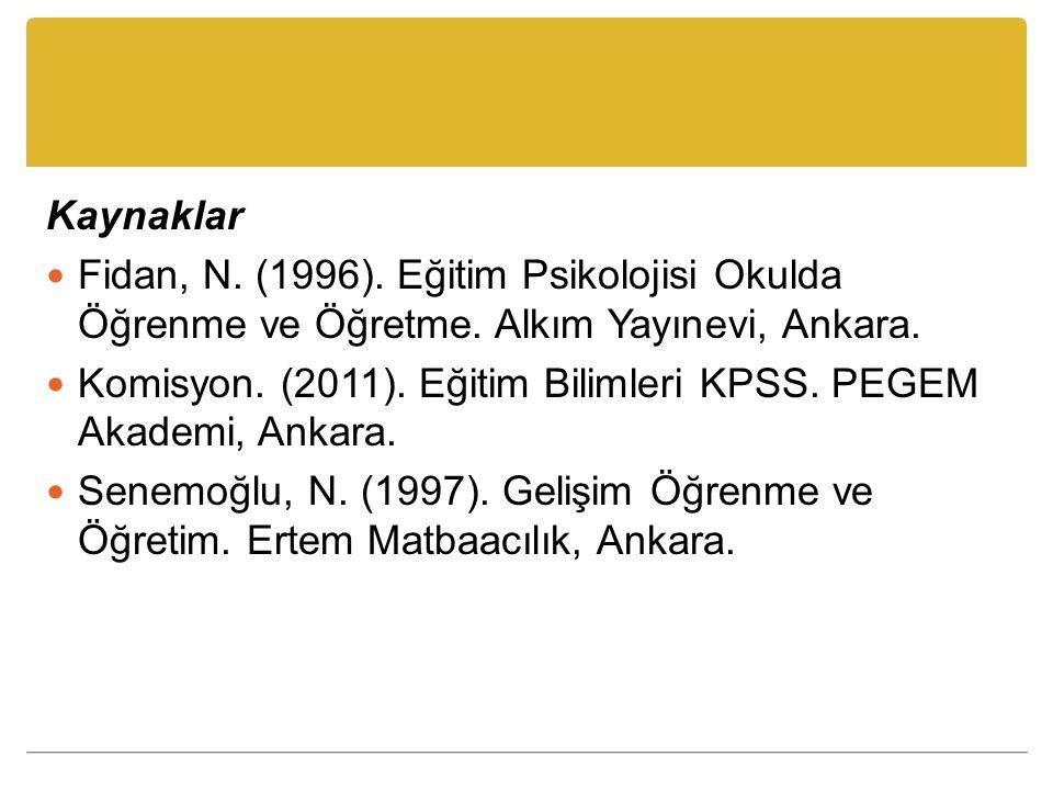 Kaynaklar Fidan, N. (1996). Eğitim Psikolojisi Okulda Öğrenme ve Öğretme. Alkım Yayınevi, Ankara.