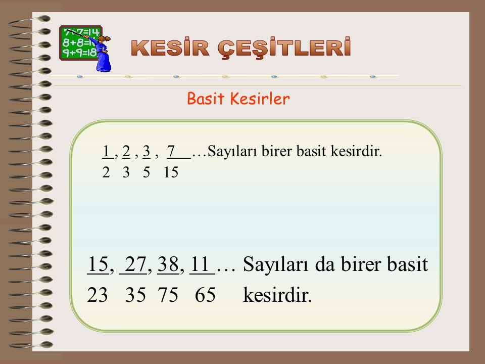 15, 27, 38, 11 … Sayıları da birer basit 23 35 75 65 kesirdir.