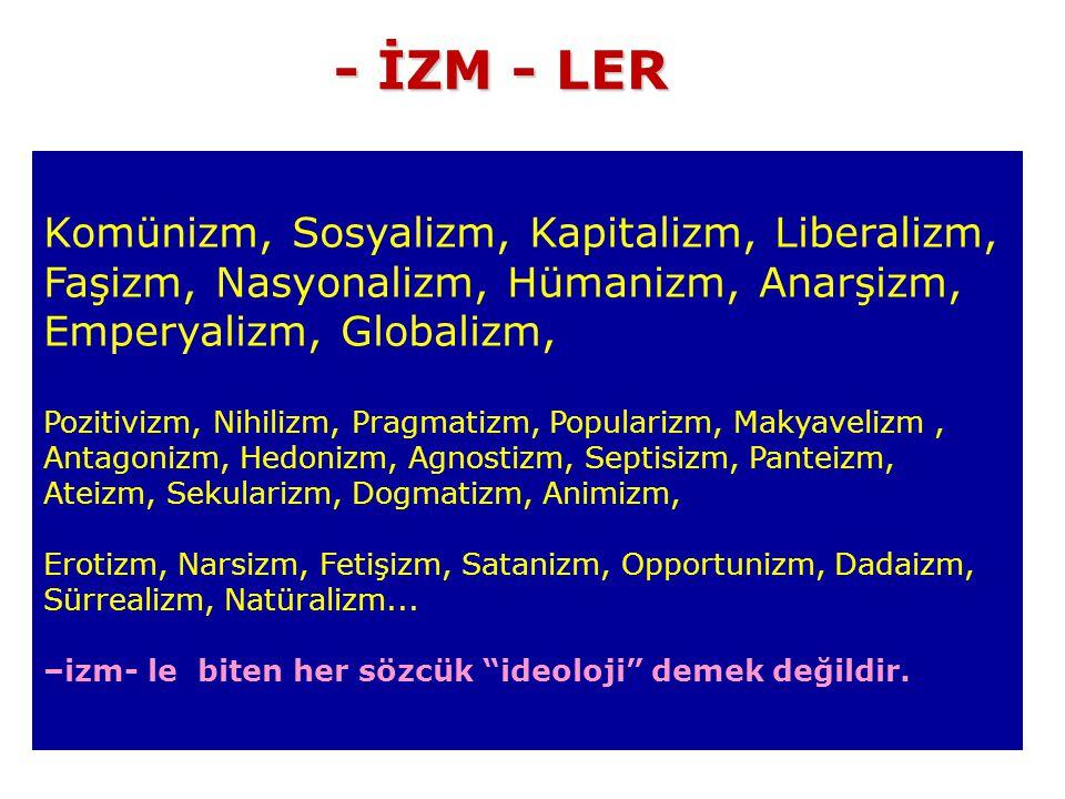 - İZM - LER Komünizm, Sosyalizm, Kapitalizm, Liberalizm, Faşizm, Nasyonalizm, Hümanizm, Anarşizm, Emperyalizm, Globalizm,