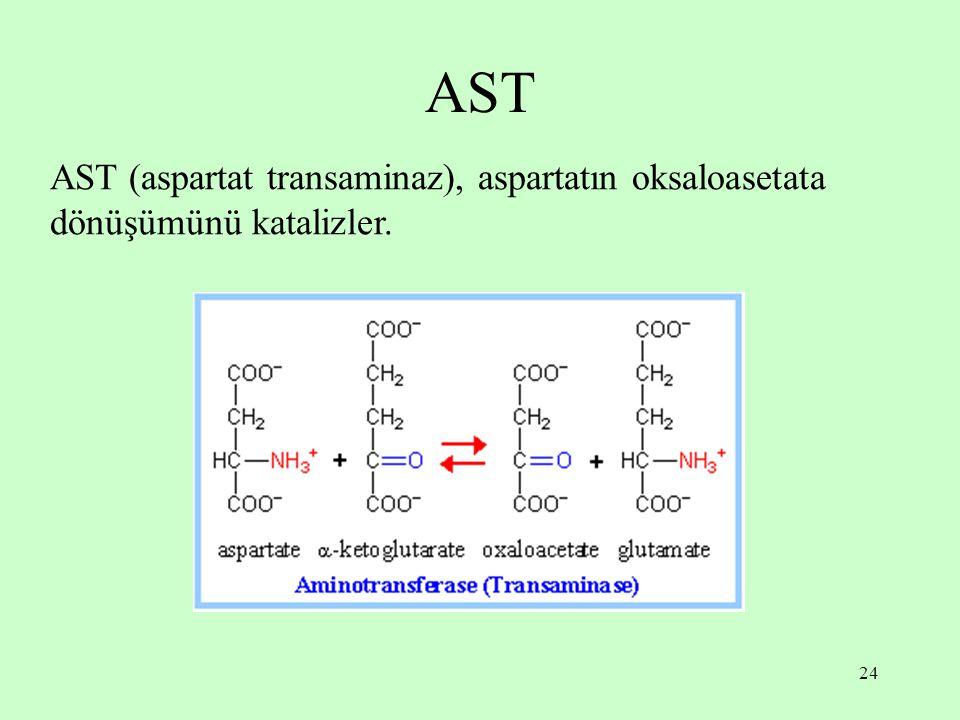 AST AST (aspartat transaminaz), aspartatın oksaloasetata dönüşümünü katalizler.