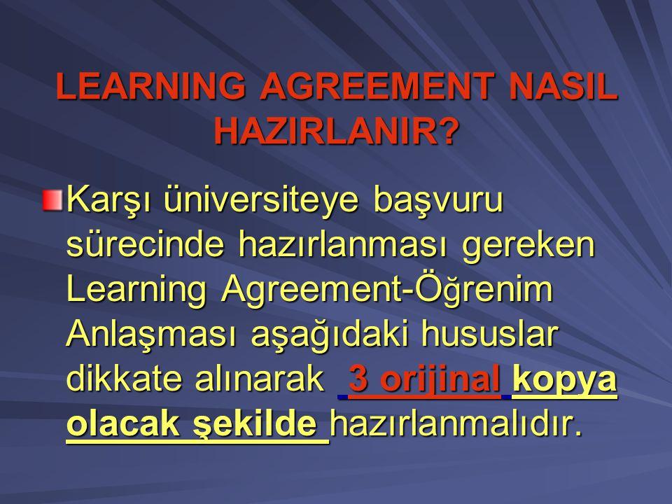 LEARNING AGREEMENT NASIL HAZIRLANIR