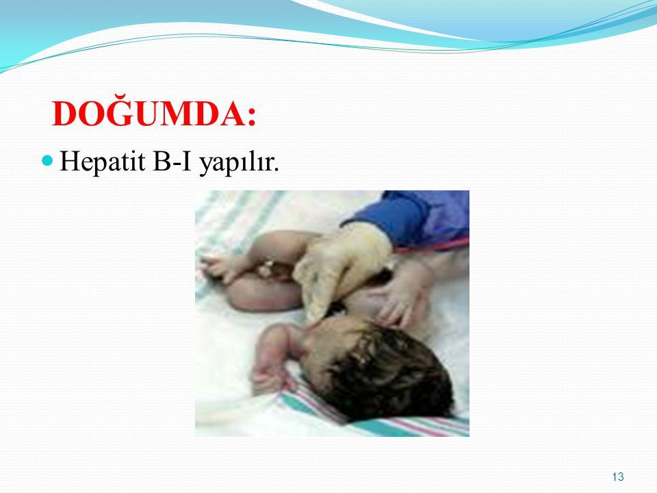 DOĞUMDA: Hepatit B-I yapılır.