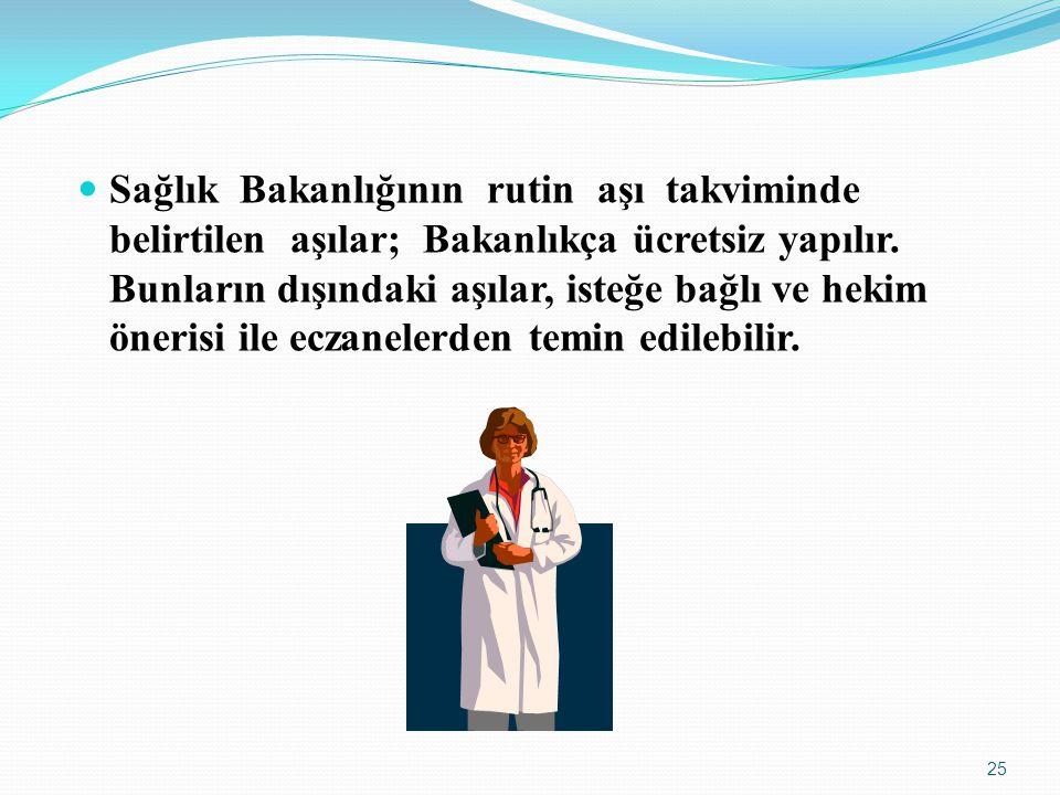 Sağlık Bakanlığının rutin aşı takviminde belirtilen aşılar; Bakanlıkça ücretsiz yapılır.