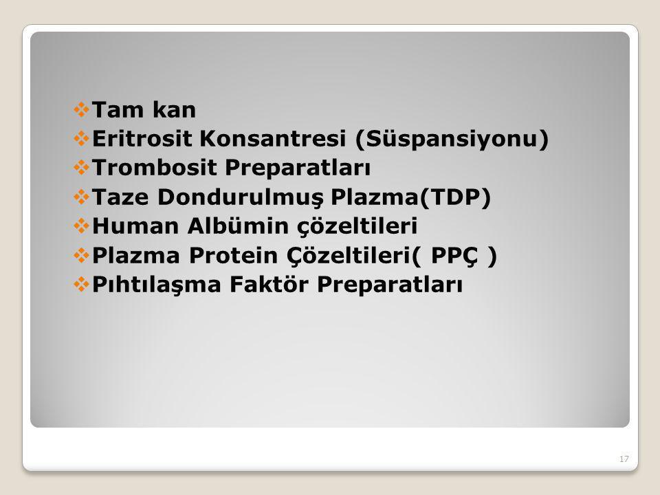 Tam kan Eritrosit Konsantresi (Süspansiyonu) Trombosit Preparatları. Taze Dondurulmuş Plazma(TDP)