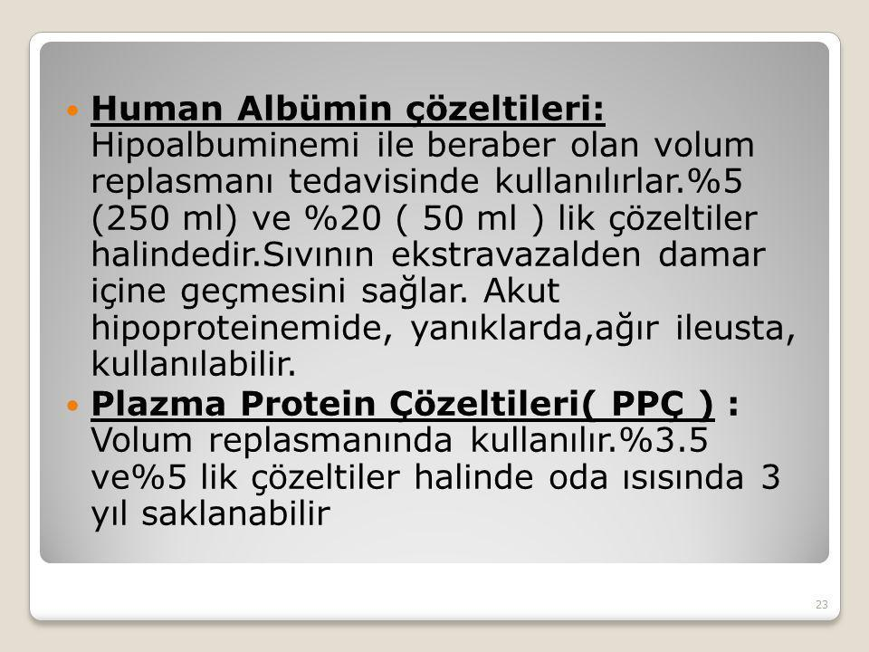 Human Albümin çözeltileri: Hipoalbuminemi ile beraber olan volum replasmanı tedavisinde kullanılırlar.%5 (250 ml) ve %20 ( 50 ml ) lik çözeltiler halindedir.Sıvının ekstravazalden damar içine geçmesini sağlar. Akut hipoproteinemide, yanıklarda,ağır ileusta, kullanılabilir.