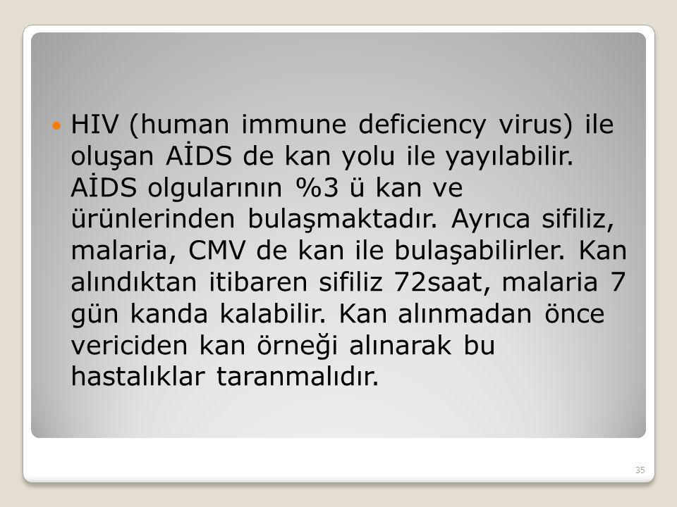 HIV (human immune deficiency virus) ile oluşan AİDS de kan yolu ile yayılabilir.
