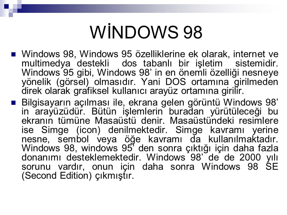 WİNDOWS 98