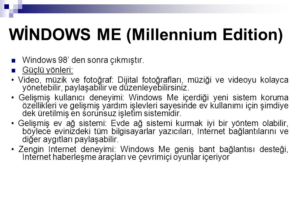 WİNDOWS ME (Millennium Edition)