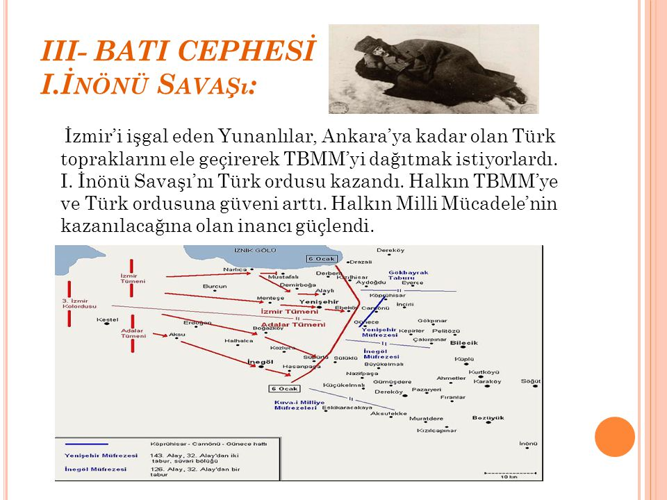 III- BATI CEPHESİ I.İnönü Savaşı: