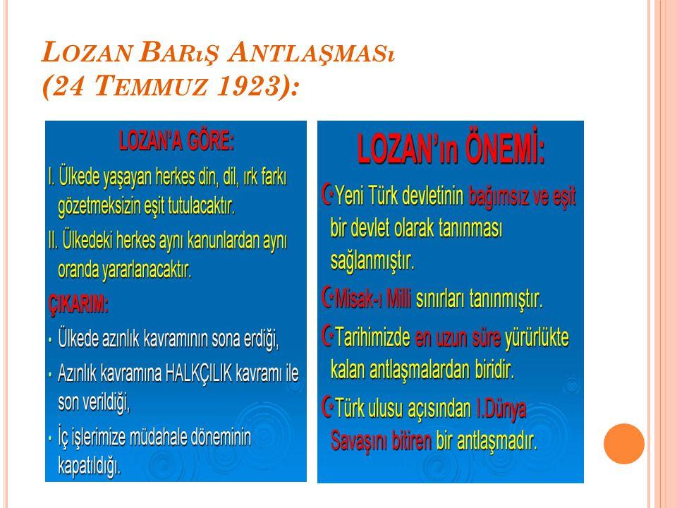 Lozan Barış Antlaşması (24 Temmuz 1923):