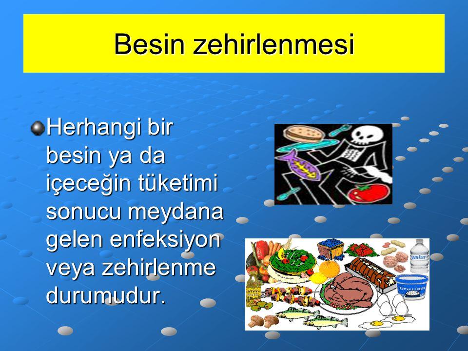 Besin zehirlenmesi Herhangi bir besin ya da içeceğin tüketimi sonucu meydana gelen enfeksiyon veya zehirlenme durumudur.