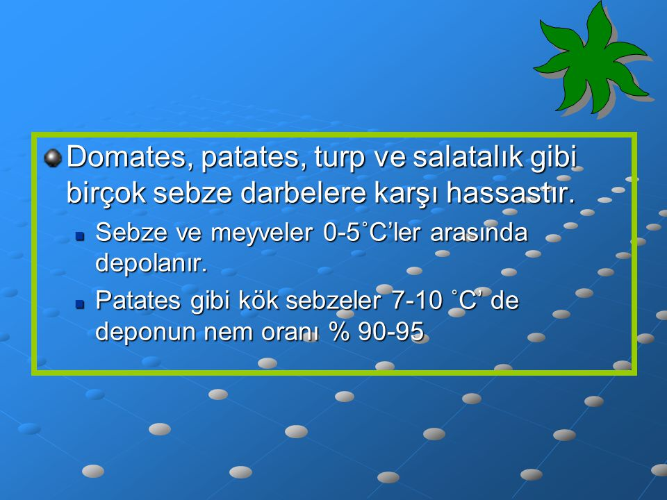 Domates, patates, turp ve salatalık gibi birçok sebze darbelere karşı hassastır.