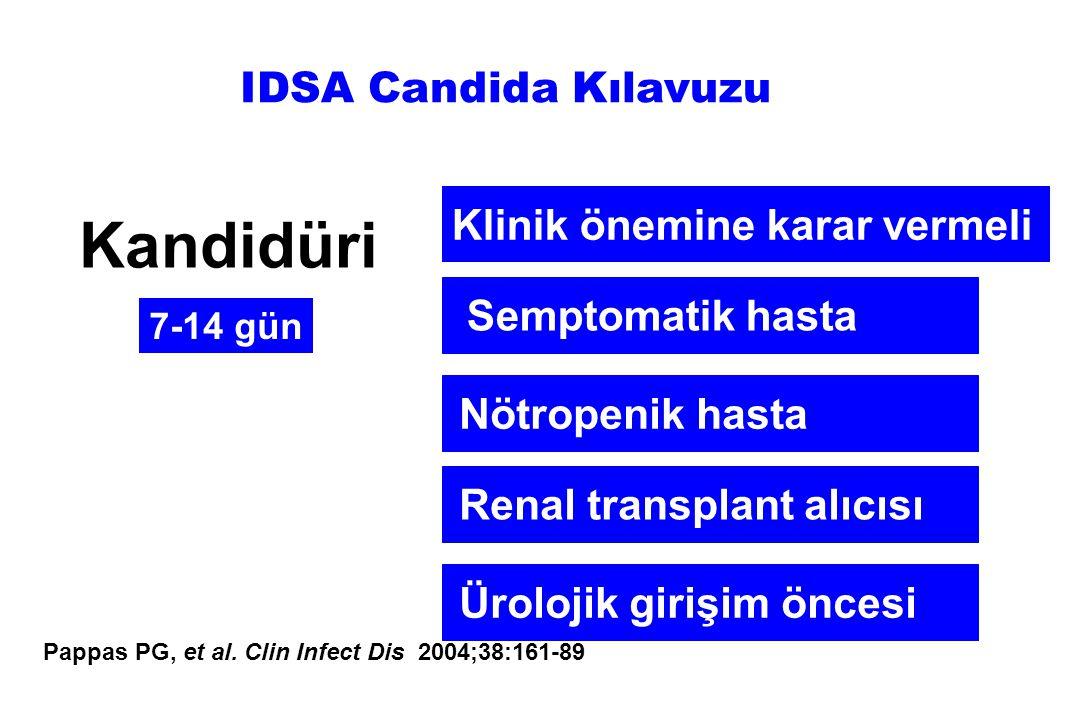 Kandidüri IDSA Candida Kılavuzu Klinik önemine karar vermeli