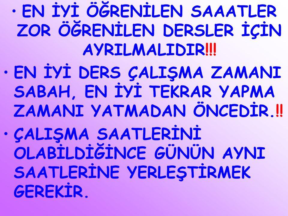EN İYİ ÖĞRENİLEN SAAATLER ZOR ÖĞRENİLEN DERSLER İÇİN AYRILMALIDIR!!!
