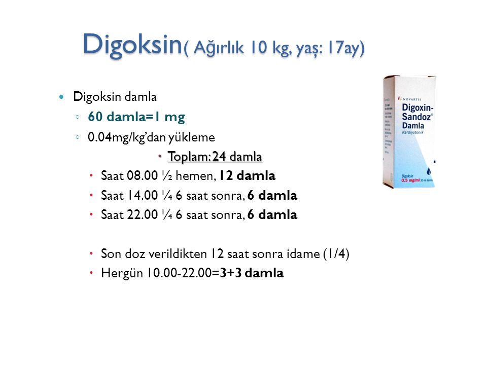 Digoksin( Ağırlık 10 kg, yaş: 17ay)