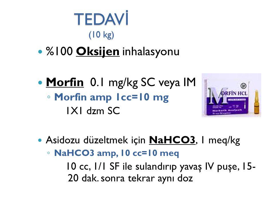 TEDAVİ (10 kg) %100 Oksijen inhalasyonu Morfin 0.1 mg/kg SC veya IM