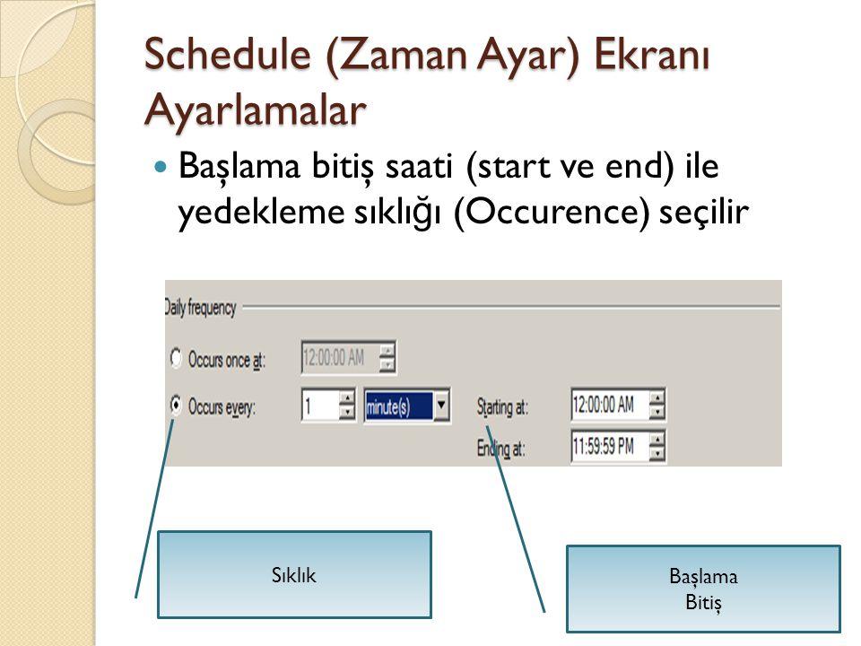 Schedule (Zaman Ayar) Ekranı Ayarlamalar