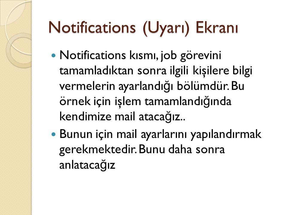Notifications (Uyarı) Ekranı