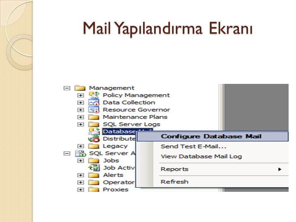 Mail Yapılandırma Ekranı