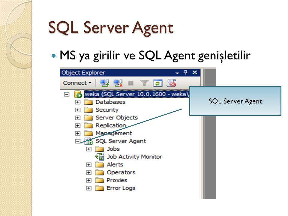 SQL Server Agent MS ya girilir ve SQL Agent genişletilir