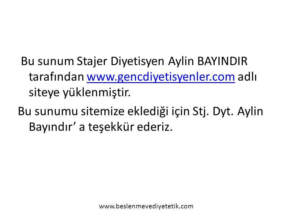 Bu sunum Stajer Diyetisyen Aylin BAYINDIR tarafından www