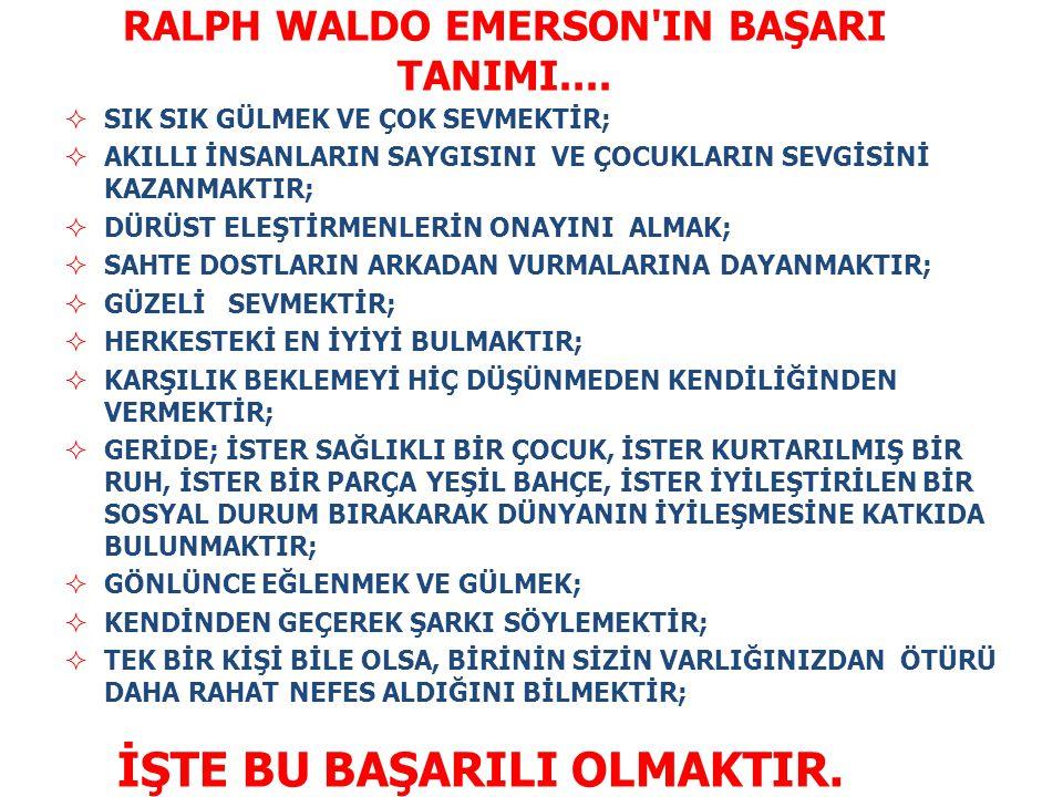 RALPH WALDO EMERSON IN BAŞARI TANIMI....