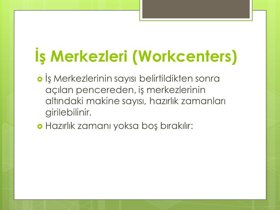 İş Merkezleri (Workcenters)
