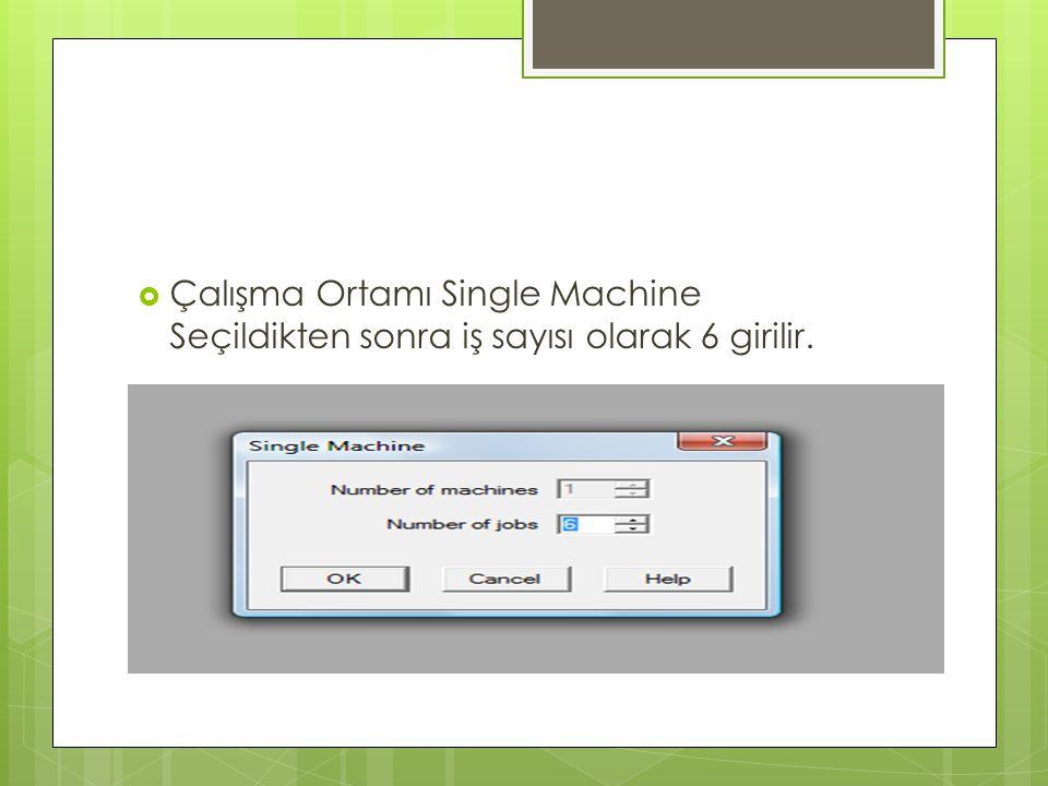 Çalışma Ortamı Single Machine Seçildikten sonra iş sayısı olarak 6 girilir.