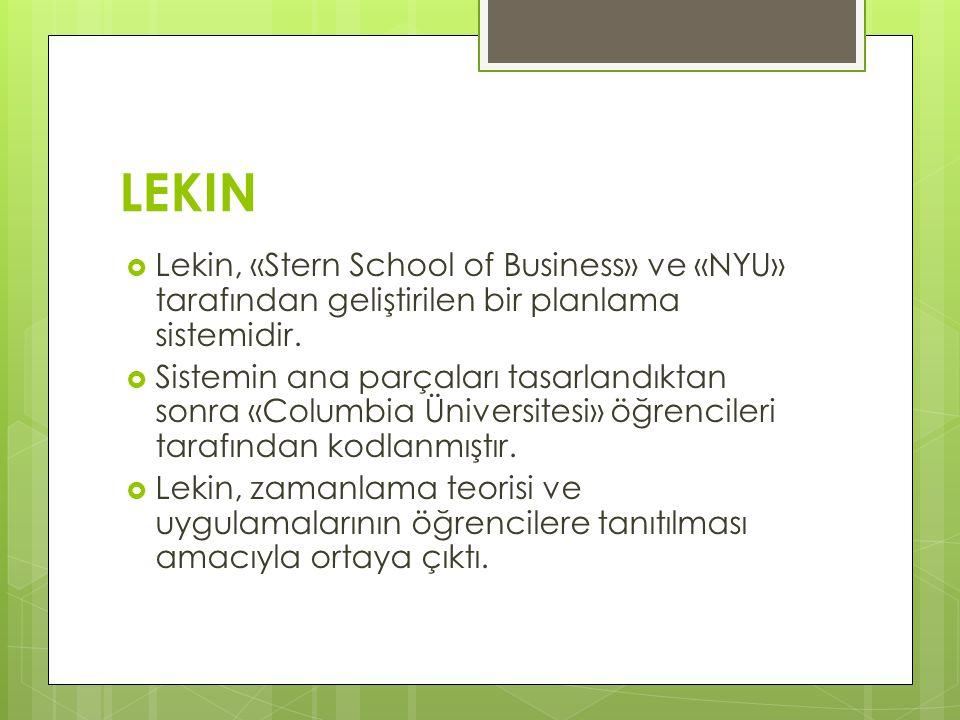 LEKIN Lekin, «Stern School of Business» ve «NYU» tarafından geliştirilen bir planlama sistemidir.