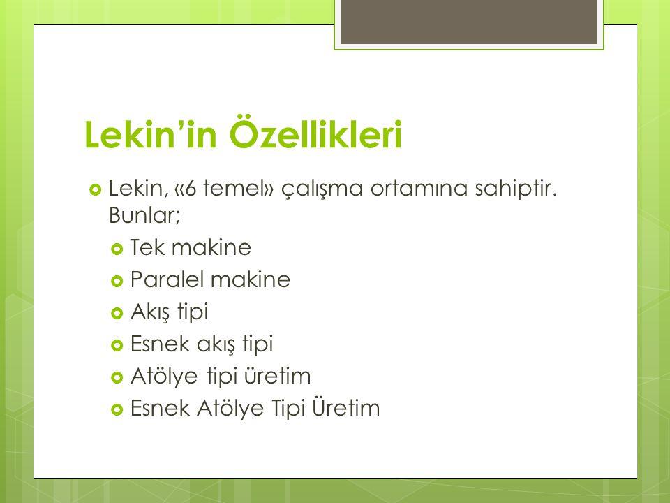 Lekin'in Özellikleri Lekin, «6 temel» çalışma ortamına sahiptir. Bunlar; Tek makine. Paralel makine.