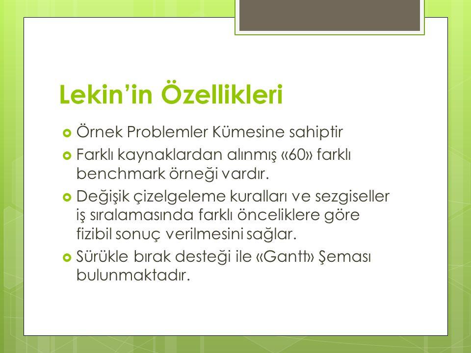 Lekin'in Özellikleri Örnek Problemler Kümesine sahiptir