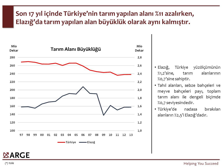 İşlenen tarım alanlarından elde edilen gelir boyutunda Elazığ, Türkiye ortalamasının bir miktar altında kalmaktadır.