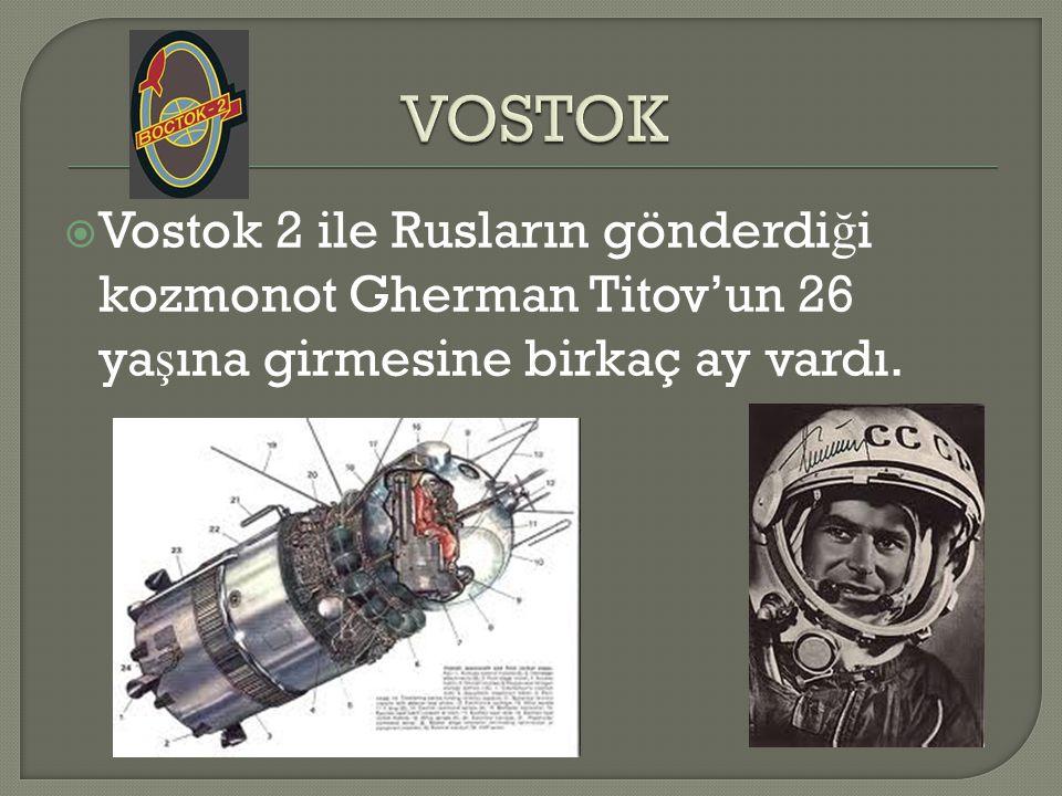 VOSTOK Vostok 2 ile Rusların gönderdiği kozmonot Gherman Titov'un 26 yaşına girmesine birkaç ay vardı.