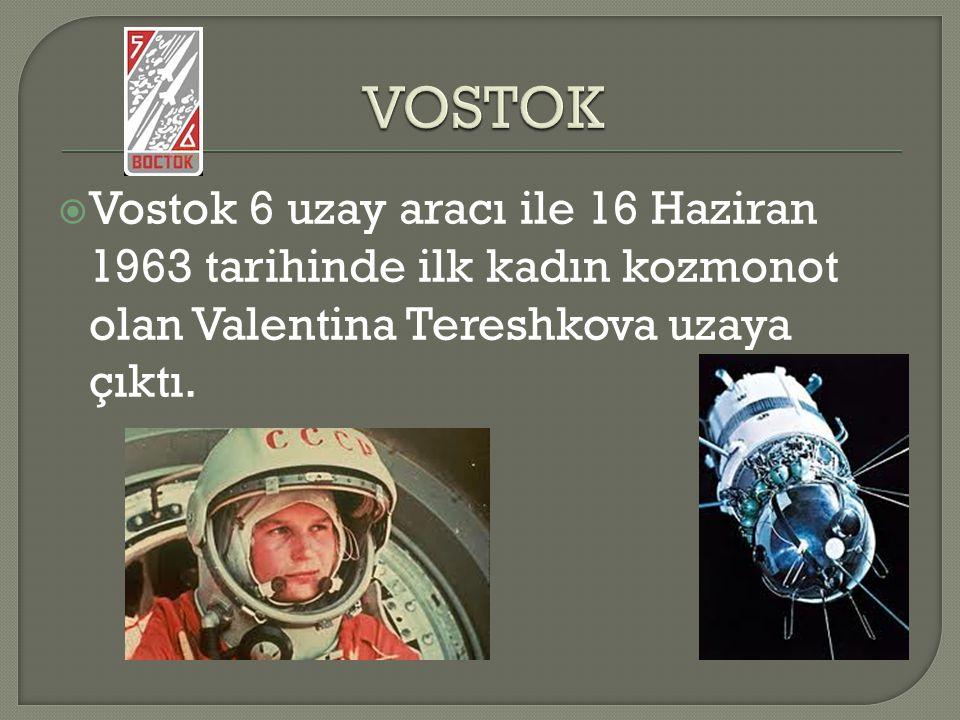 VOSTOK Vostok 6 uzay aracı ile 16 Haziran 1963 tarihinde ilk kadın kozmonot olan Valentina Tereshkova uzaya çıktı.