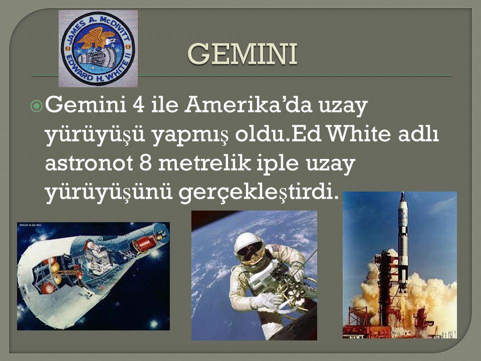 GEMINI Gemini 4 ile Amerika'da uzay yürüyüşü yapmış oldu.Ed White adlı astronot 8 metrelik iple uzay yürüyüşünü gerçekleştirdi.