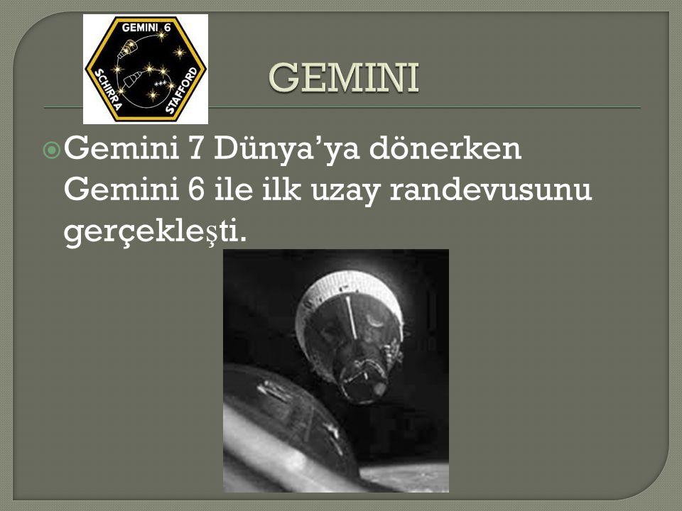 GEMINI Gemini 7 Dünya'ya dönerken Gemini 6 ile ilk uzay randevusunu gerçekleşti.