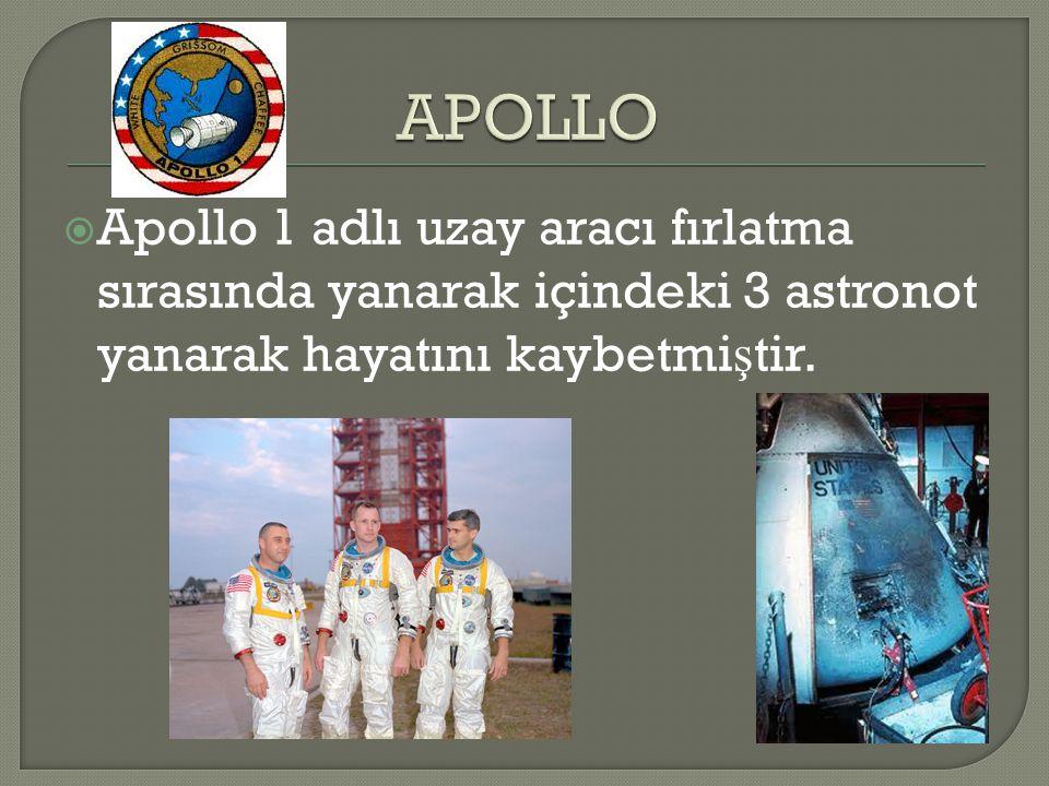 APOLLO Apollo 1 adlı uzay aracı fırlatma sırasında yanarak içindeki 3 astronot yanarak hayatını kaybetmiştir.