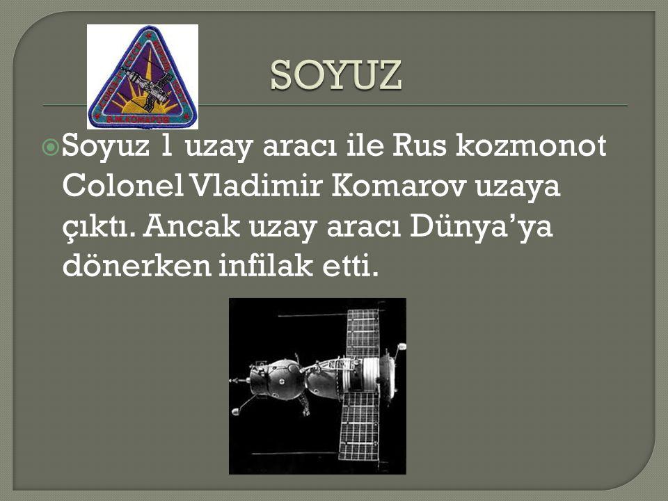 SOYUZ Soyuz 1 uzay aracı ile Rus kozmonot Colonel Vladimir Komarov uzaya çıktı.