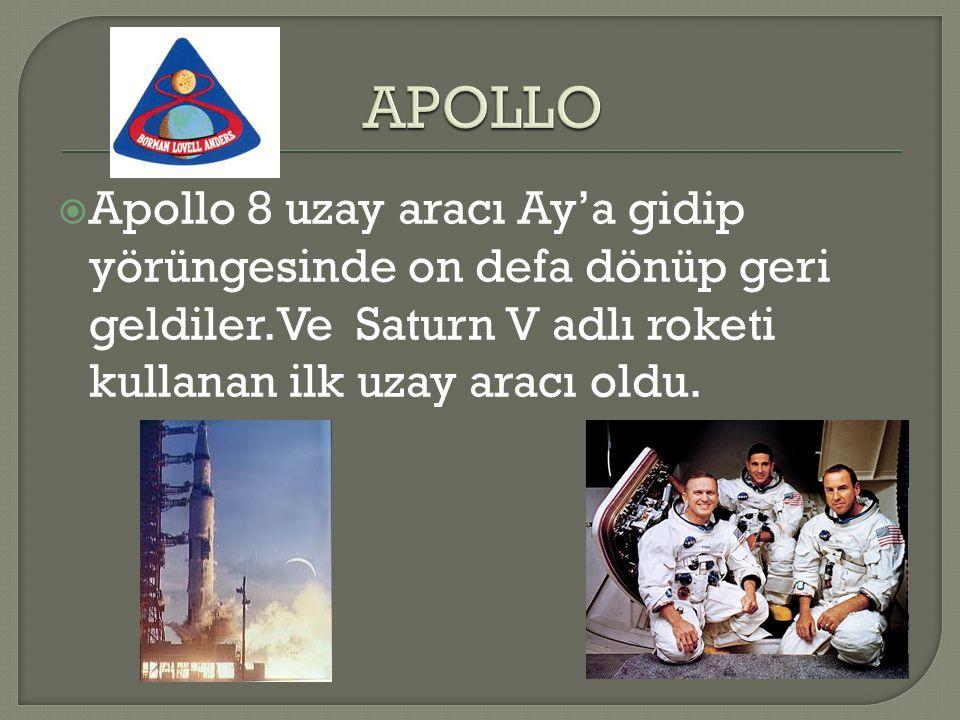 APOLLO Apollo 8 uzay aracı Ay'a gidip yörüngesinde on defa dönüp geri geldiler.Ve Saturn V adlı roketi kullanan ilk uzay aracı oldu.