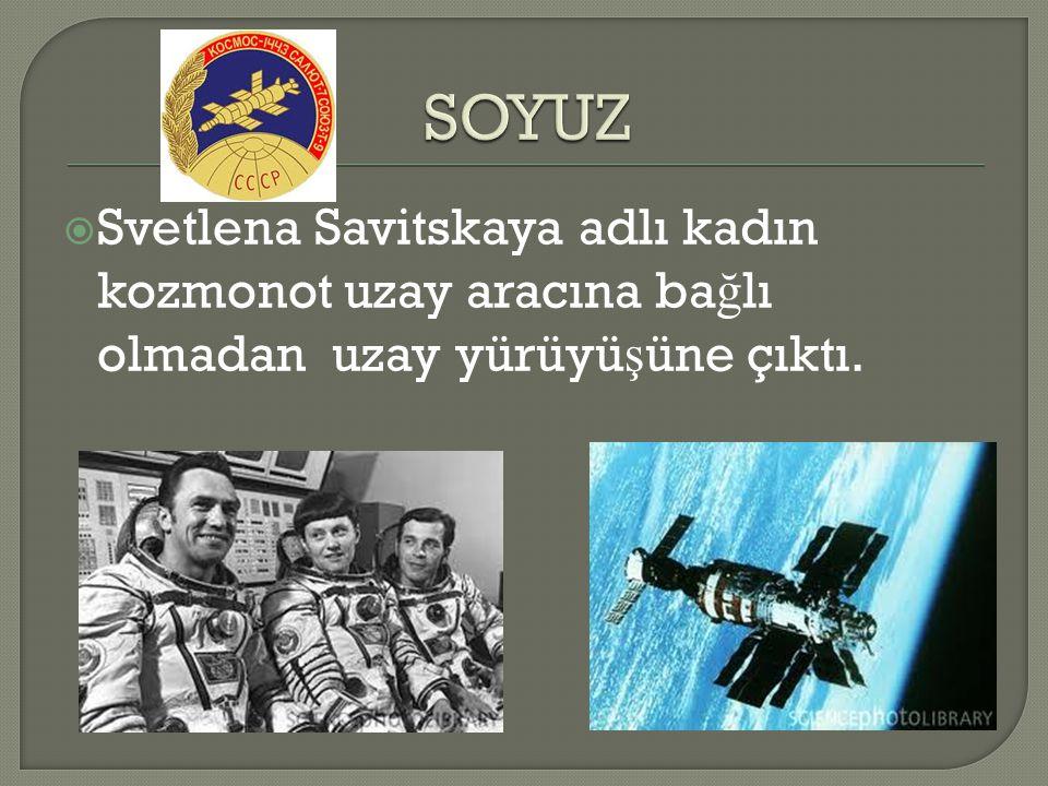 SOYUZ Svetlena Savitskaya adlı kadın kozmonot uzay aracına bağlı olmadan uzay yürüyüşüne çıktı.