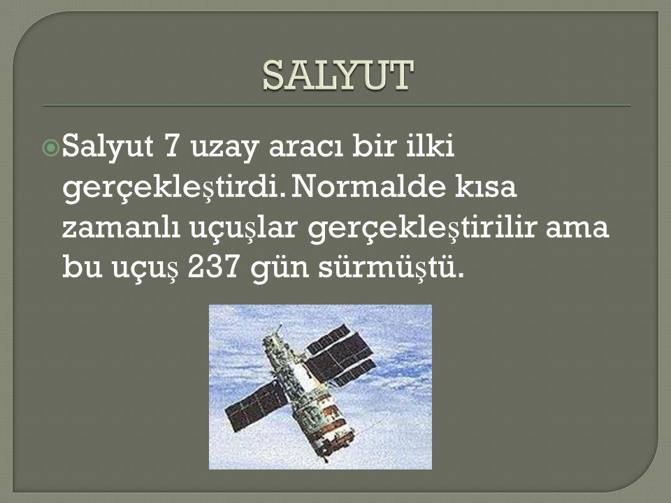 SALYUT Salyut 7 uzay aracı bir ilki gerçekleştirdi.