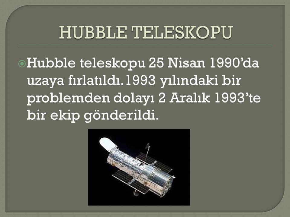HUBBLE TELESKOPU Hubble teleskopu 25 Nisan 1990'da uzaya fırlatıldı.1993 yılındaki bir problemden dolayı 2 Aralık 1993'te bir ekip gönderildi.