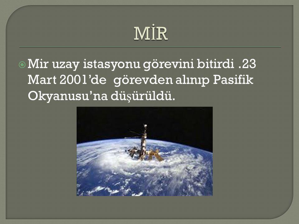 MİR Mir uzay istasyonu görevini bitirdi .23 Mart 2001'de görevden alınıp Pasifik Okyanusu'na düşürüldü.