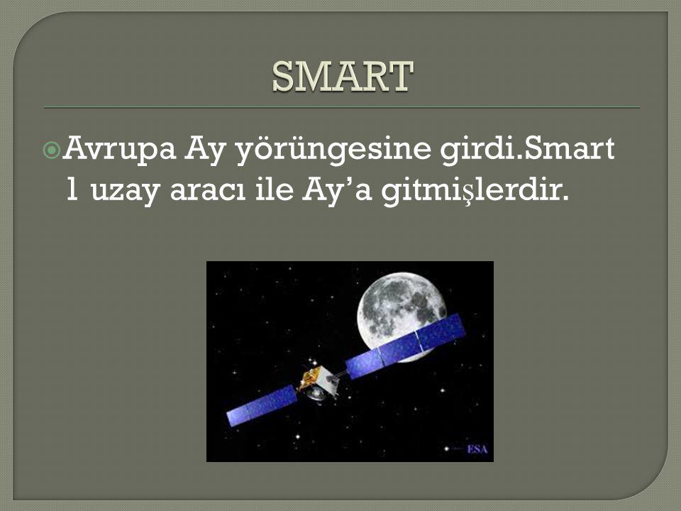 SMART Avrupa Ay yörüngesine girdi.Smart 1 uzay aracı ile Ay'a gitmişlerdir.
