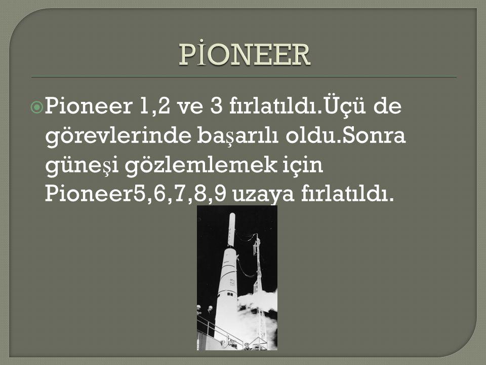 PİONEER Pioneer 1,2 ve 3 fırlatıldı.Üçü de görevlerinde başarılı oldu.Sonra güneşi gözlemlemek için Pioneer5,6,7,8,9 uzaya fırlatıldı.